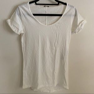 Denham the Jeanmaker Scoop Neck Cotton Tee White S